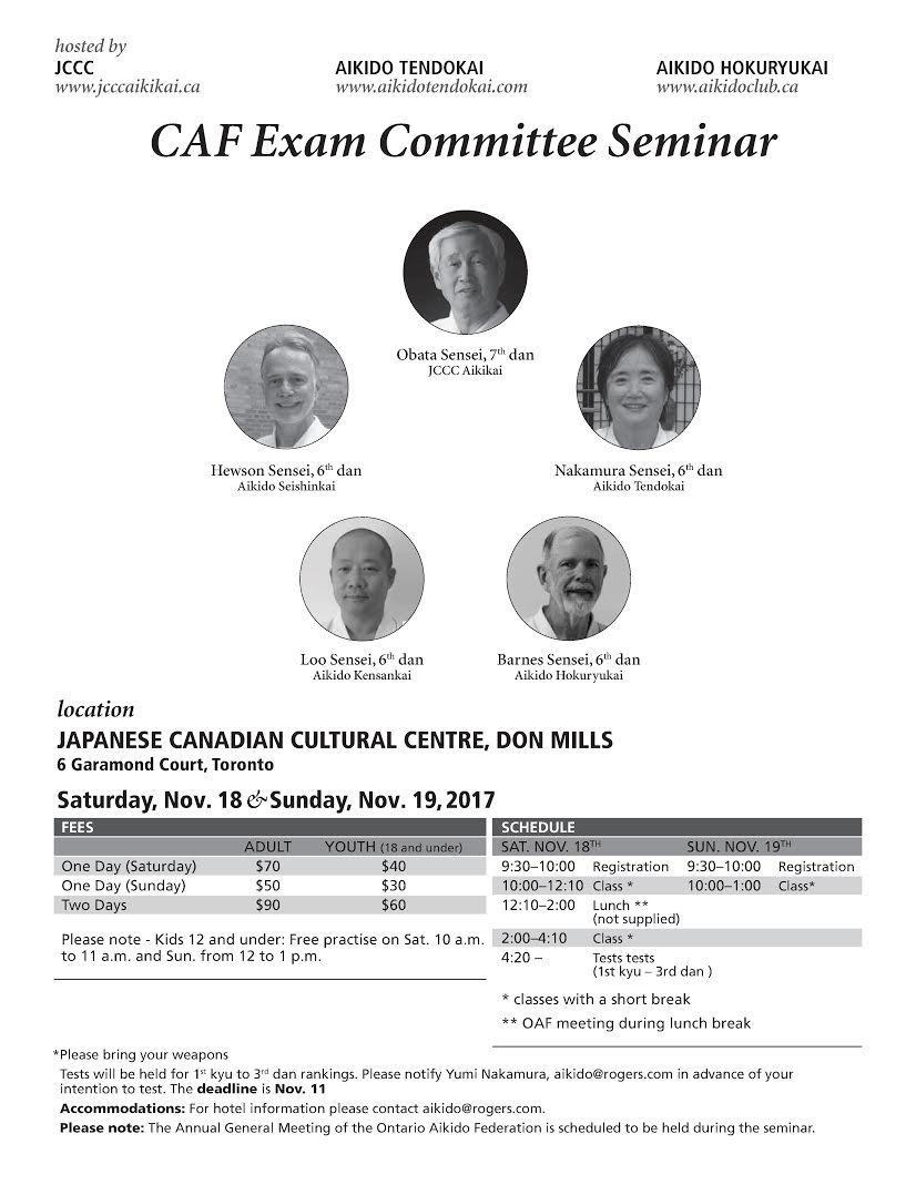 Seminar with Canadian Aikido Federation Examination Committee Members @ JCCC Aikikai   Toronto   Ontario   Canada